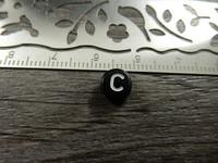 Kirjainhelmi C, 7mm, musta, 1kpl