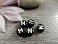 Kirjainhelmi N, 7mm, musta, 1kpl