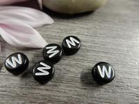 Kirjainhelmi W, 7mm, musta, 1kpl