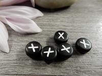 Kirjainhelmi X, 7mm, musta, 1kpl