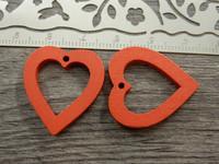 Sydänriipus, 25x23mm, punainen/puu, 1kpl