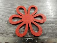 Kukkariipus, 47x42mm, punainen/puu, 1kpl