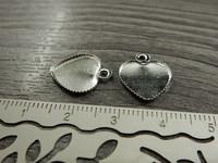 Kapussipohja sydän, 12mm, kirkashopea, 1kpl