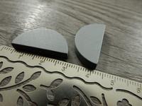 Puoliympyrä puuhelmi, 25x13mm, harmaa, 1kpl