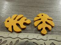 Lehtiriipus, 30x23mm, keltainen/puu, 1kpl
