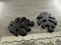 Lehtiriipus, 30x23mm, musta/puu, 1kpl