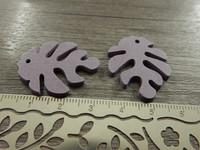 Lehtiriipus, 30x23mm, liila/puu, 1kpl