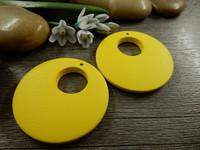 Ympyrä puuriipus, 35mm, keltainen, 1kpl