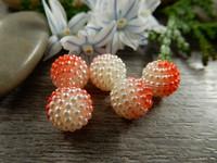 Akryylihelmi vadelma, 10mm, puna-valkoinen, 1kpl