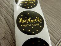 Handmade with love tarra, 25mm, rakkaudella, 10kpl