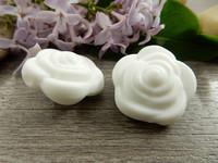 Silikonihelmi ruusu, 21mm, valkoinen, 1kpl