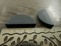 Puoliympyrä puuhelmi, 31x15mm, harmaa, 1kpl