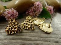 Korvakorutappi sydän, 15x12mm, kulta, 1pari