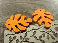 Puuriipus lehti, 30x23mm, oranssi, 1kpl