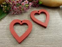 Puuriipus sydän, 25x23mm, tummanpunainen, 1kpl