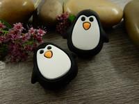 Silikonihelmi pingviini, 26x25mm, musta, 1kpl