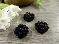 Kapussi kukka, 12mm, musta, 1kpl
