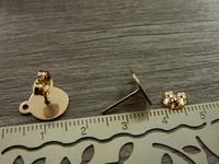 Korvakorutappi+lukko lenkillä, 12,5x10mm, ruusukulta/rst, 1pari