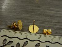 Korvakorutappi+lukko, 8x13mm, rst/kulta, 5paria