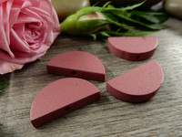Puoliympyrä puuhelmi, 20x10mm, roosa, 1kpl