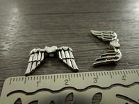 Metallihelmi/ riipus siivet, 19x11mm, kromi, 1kpl