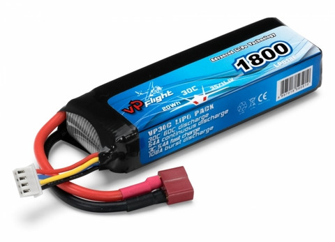 LiPo 1800mAh 3S 11,1V 30C (T-Liitin) (LP018FD)
