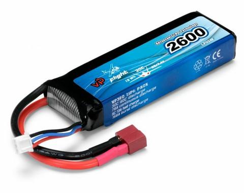 LiPo 2600mAh 2S 7,4V 30C (T-Liitin) (LP024FD)