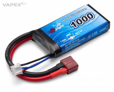 LiPo 1000mAh 2S 7,4V 25C (T-Liitin) (LP009FD)