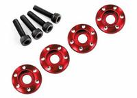 LaTrax Wheel Nut Washer Alu Red w/ Screws (4) (7668R)