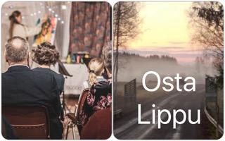 Osta lippu helposti. Klikkaa kuvaketta. Kuva konsertista Iltamat Iittalassa jossa kuvataiteilija Liisa Rasinkangas tekee live-maalausta ihmisten katsellessa ja toinen kuva kulttuurimaisemasta Taljalassa paikassa Iittala Village.