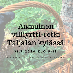 Aamuinen villiyrtti-retki Taljalan kylässä 31.7.2020 klo 9 - 12