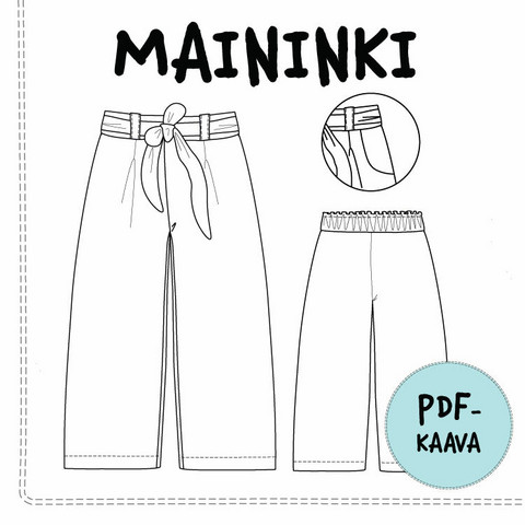 PDF-kaava, Maininki, leveälahkeiset housut 104-140 cm