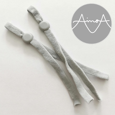 Säädettävä nylon-nauha, 1 pari, vaalea harmaa