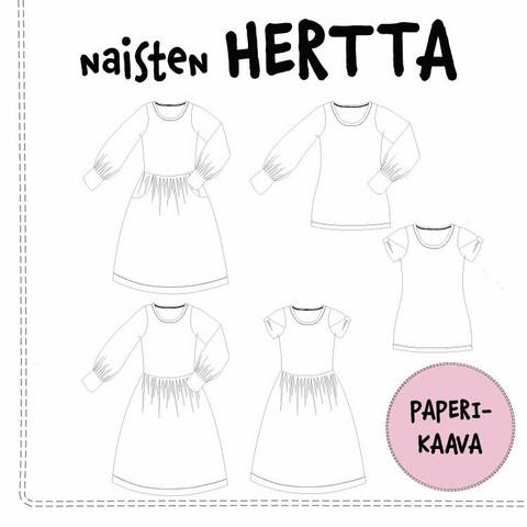 Paperikaava, naisten Hertta mekko ja pusero 32-54