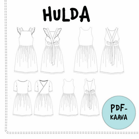 PDF-kaava, Hulda mekko 92-140cm