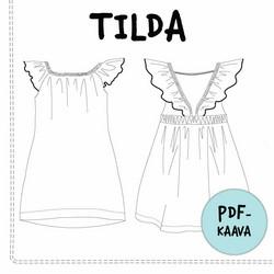 PDF-kaava, Tilda frillaolkainen mekko, 74-140cm