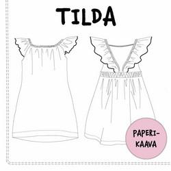 Paperikaava, Tilda frillaolkainen mekko, 74-140 cm