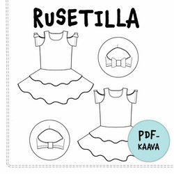 PDF-kaava, Rusetilla cold shoulder mekko, 80-146 cm