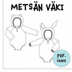 PDF-kaava, Metsän väki hupullinen romper, 56-98 cm