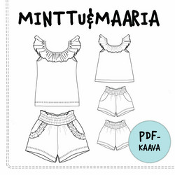 PDF-kaava, Minttu&Maaria, toppi ja shortsit 98-140 cm