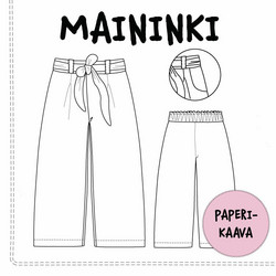 Paperikaava, Maininki, leveälahkeiset housut 104-140 cm