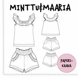 Paperikaava, Minttu&Maaria toppi ja shortsit 98-140 cm