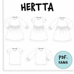 PDF-kaava, Hertta mekko ja pusero 92-140 cm