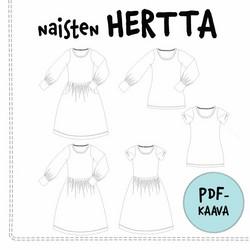 PDF-kaava, naisten Hertta mekko ja pusero 32-54