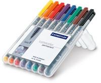 Staedtler Lumocolor 318 huopakynä 0,6mm permanent värilajitelma, 1 kpl=8 kynää