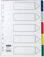 Hakemisto 5-osainen A4 värillinen muovia
