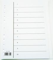 Hakemisto 1-10 A4 ip valkoinen kartonki