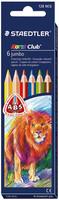 Staedtler Noris Club jumbo 128 puuvärikynä värilajitelma, 1 kpl=6 kynää