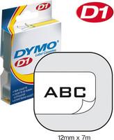 DYMO D1 12MM MUSTA/VALKOINEN 45013