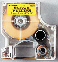 Dymo teippi 6mmx7m 43618 musta/keltainen